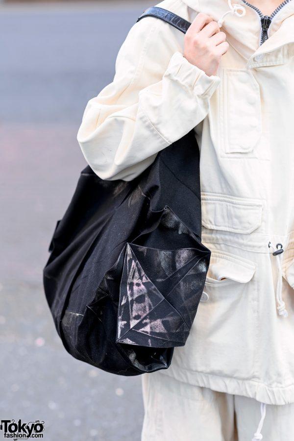 Minimalist Monochrome Street Style w/ Tomorrowland Jacket, Maison Margiela Wide Pants, Issey Miyake Origami Bag & Converse 7