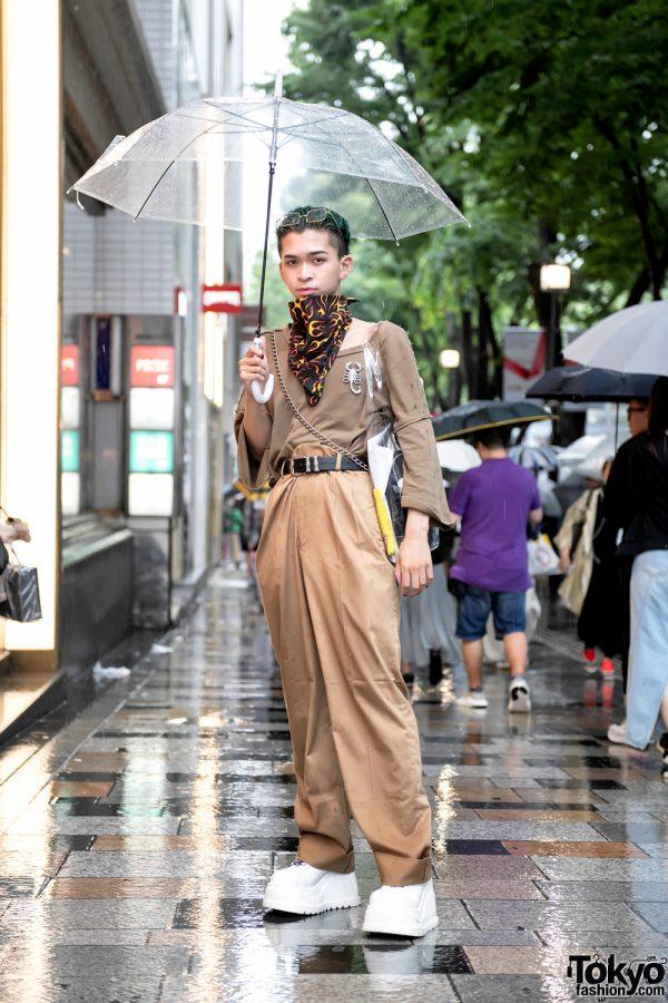 Harajuku Guy in Beige Street Style w/ Flame Handkerchief, High Waist Pants & White Demonia Platforms