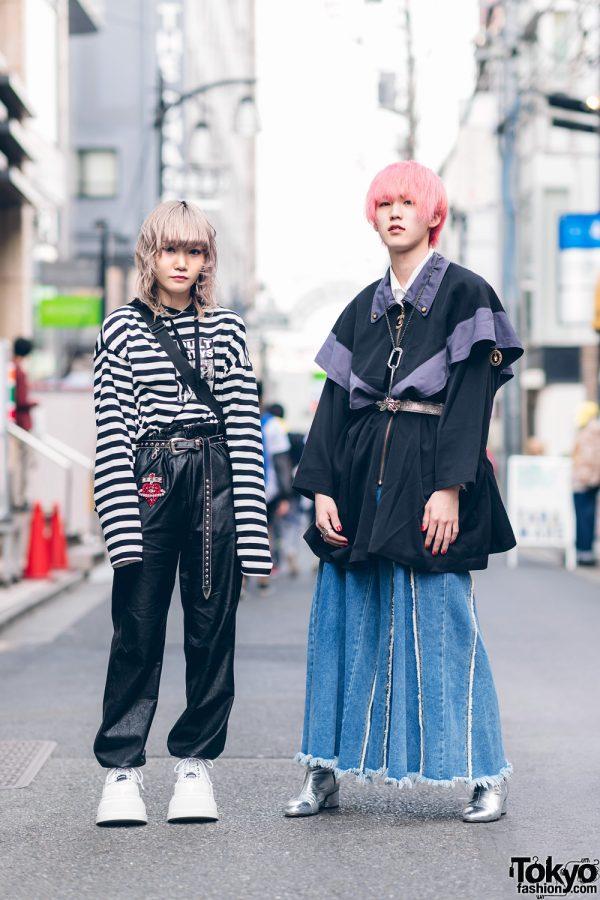 Japanese Streetwear Styles w/ Pink Hair, Codona De Moda, Oh Pearl Striped Top, Kobinai, Milkfed & White Demonia Platforms 2