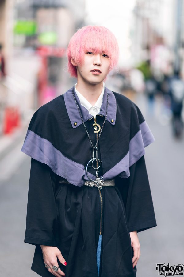 Japanese Streetwear Styles w/ Pink Hair, Codona De Moda, Oh Pearl Striped Top, Kobinai, Milkfed & White Demonia Platforms 9