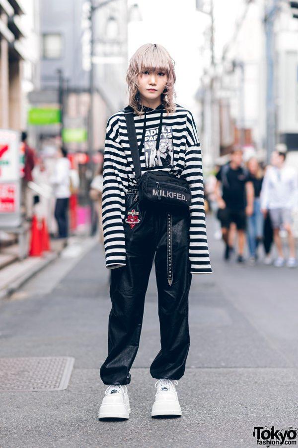 Japanese Streetwear Styles w/ Pink Hair, Codona De Moda, Oh Pearl Striped Top, Kobinai, Milkfed & White Demonia Platforms 3