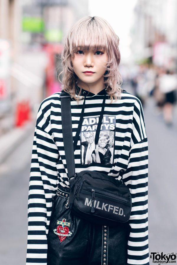 Japanese Streetwear Styles w/ Pink Hair, Codona De Moda, Oh Pearl Striped Top, Kobinai, Milkfed & White Demonia Platforms 4