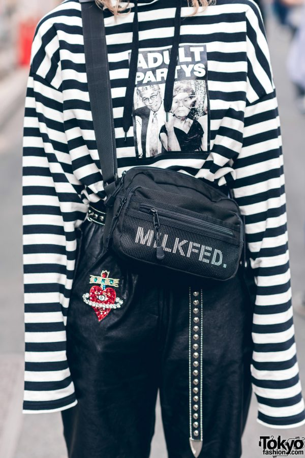 Japanese Streetwear Styles w/ Pink Hair, Codona De Moda, Oh Pearl Striped Top, Kobinai, Milkfed & White Demonia Platforms 5