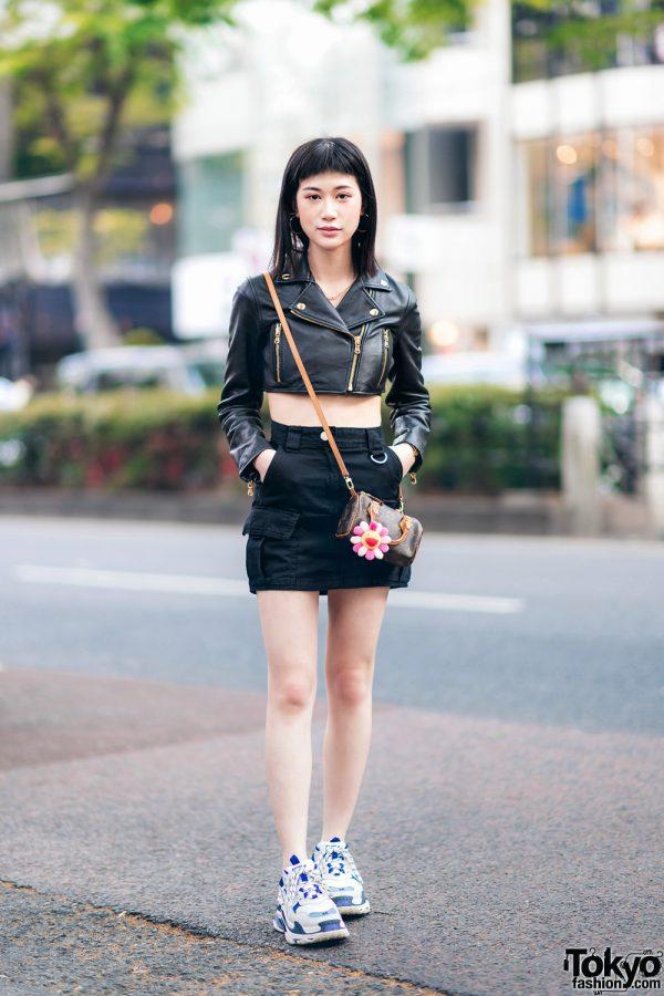 Model's Chic Street Style w/ Moschino x H&M Cropped Jacket, Forever21, Bershka Skirt, Ambush, Takashi Murakami, Louis Vuitton Bag & Balenciaga Triple S Shoes