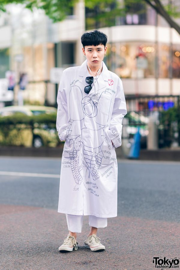 The Symbolic Tokyo Designer w/ Black Sunglasses, TST Anatomy Art Lab Coat, Cuffed Pants ; Vintage Converse Sneakers