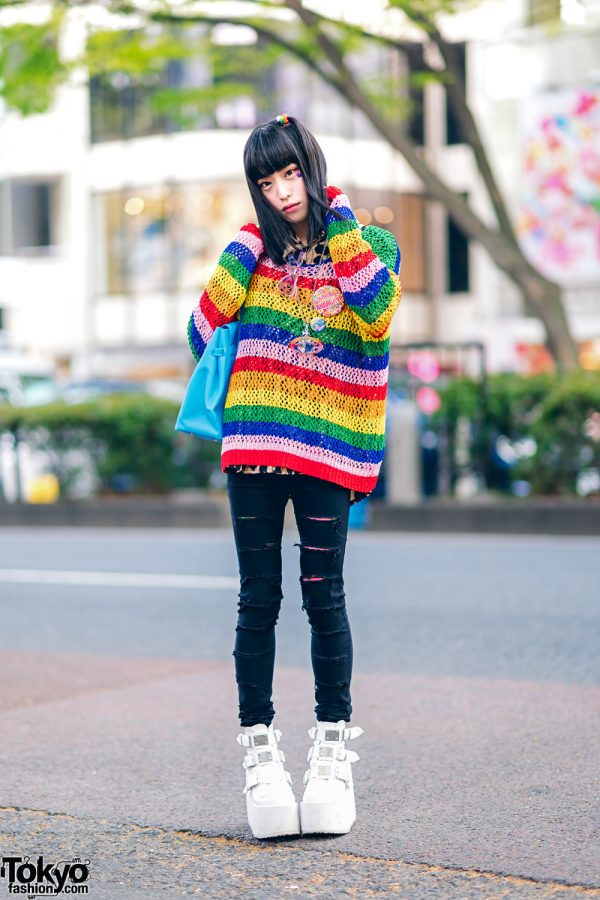 Japanese Street Fashion w/ Forever21 Rainbow Sweater, Kol Me Baby, Glad News Ripped Jeans, Demonia Platforms, Angel Blue, 6%DokiDoki Badges & Vivienne Westwood