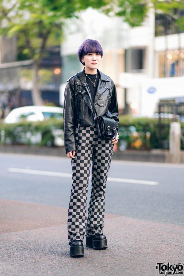 Harajuku Streetwear Style w/ Purple Hair, Faith Tokyo Checkered Pants, Never Mind the XU, Vivienne Westwood & Demonia Platforms