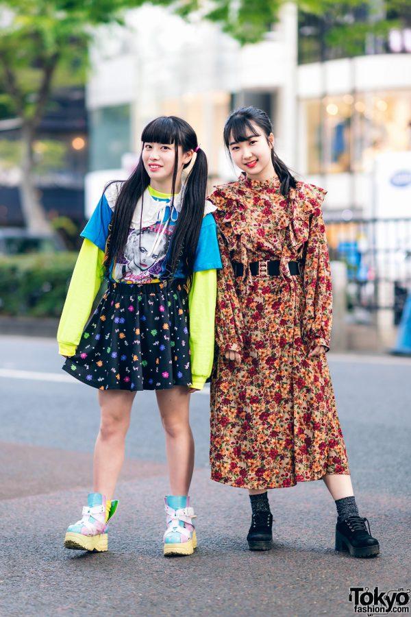 Harajuku Girls Streetwear Styles w/ Twin Tails, Peco Club, WEGO Ruffle Collar, Suspenders, Style Nanda Floral Dress & Yosuke Colorblock Boots 2