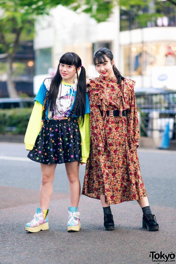 Harajuku Girls Streetwear Styles w/ Twin Tails, Peco Club, WEGO Ruffle Collar, Suspenders, Style Nanda Floral Dress & Yosuke Colorblock Boots 3