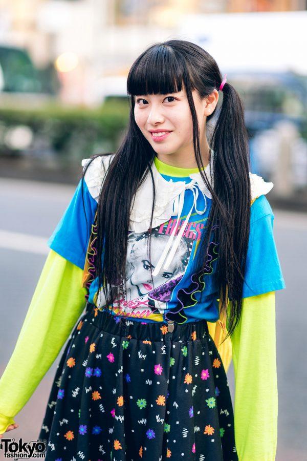 Harajuku Girls Streetwear Styles w/ Twin Tails, Peco Club, WEGO Ruffle Collar, Suspenders, Style Nanda Floral Dress & Yosuke Colorblock Boots 4