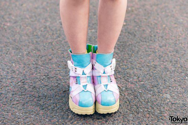 Harajuku Girls Streetwear Styles w/ Twin Tails, Peco Club, WEGO Ruffle Collar, Suspenders, Style Nanda Floral Dress & Yosuke Colorblock Boots 7