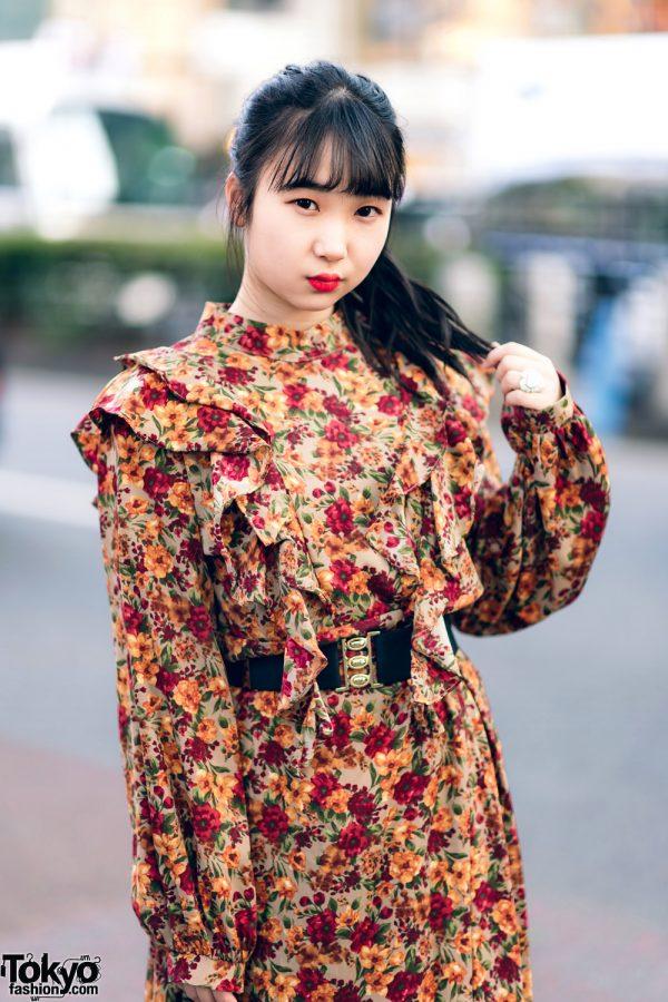 Harajuku Girls Streetwear Styles w/ Twin Tails, Peco Club, WEGO Ruffle Collar, Suspenders, Style Nanda Floral Dress & Yosuke Colorblock Boots 9