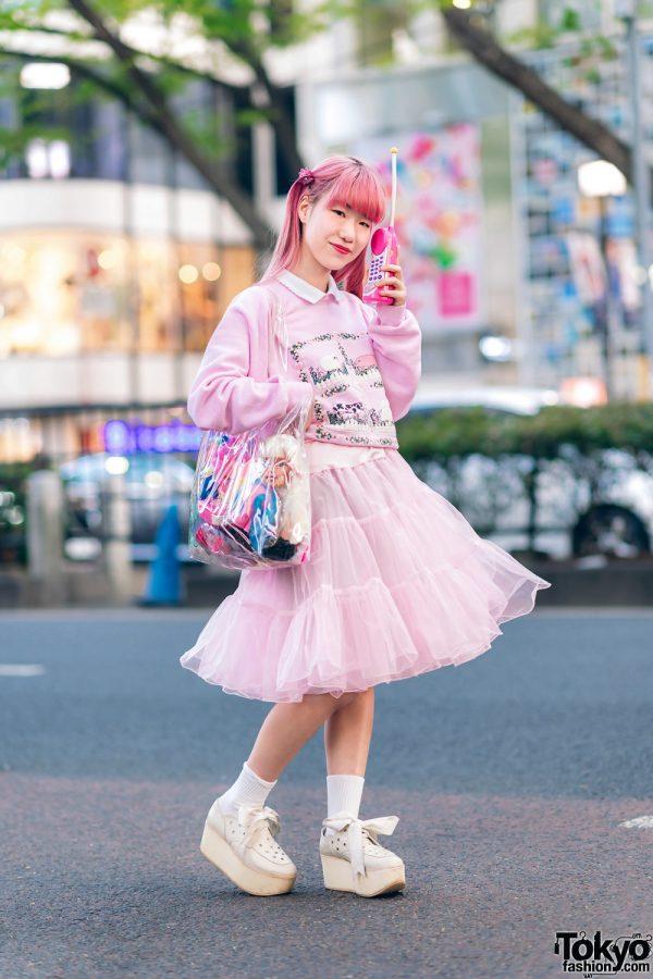 Kawaii Harajuku Girl Squad Street Styles w/ Pink Hair, Sheer Pastel Fashion, San To Nibun No Ichi, Kinji Resale & Cabbage Patch Doll 26