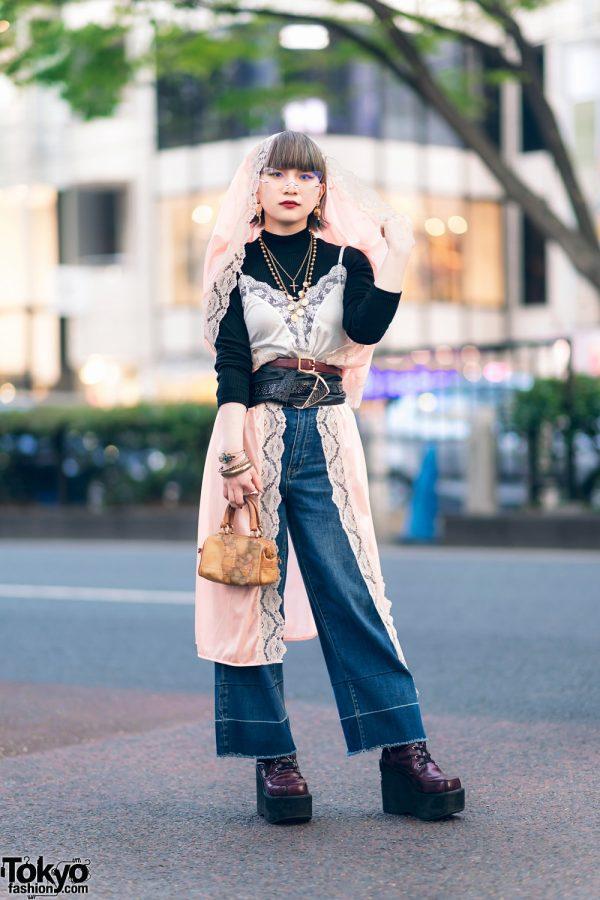 The Mondays Lace Robe, Camisole Top, Layered Belts, Yosuke Purple Boots & Alviero Martini Map Bag