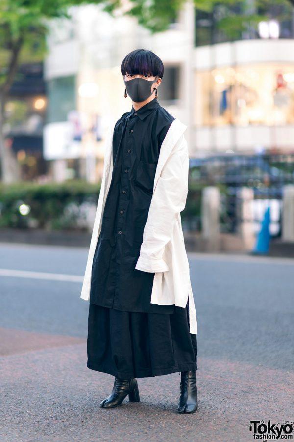 Monochrome Menswear Harajuku Style w/ Mask, Y-3 Long Shirts, Notch Skirt, Saad Earrings & Bella By Bella Tabi Boots