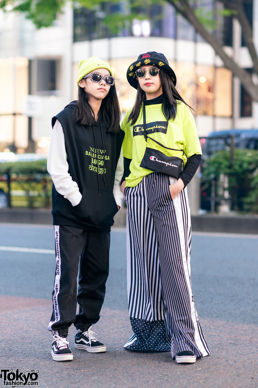 Tokyo Girls Streetwear w/ Vans, Balenciaga Hoodie, Ray-Ban, Champion Shirt, Alexander Wang, Adidas & FILA x Chupa Chups Hat