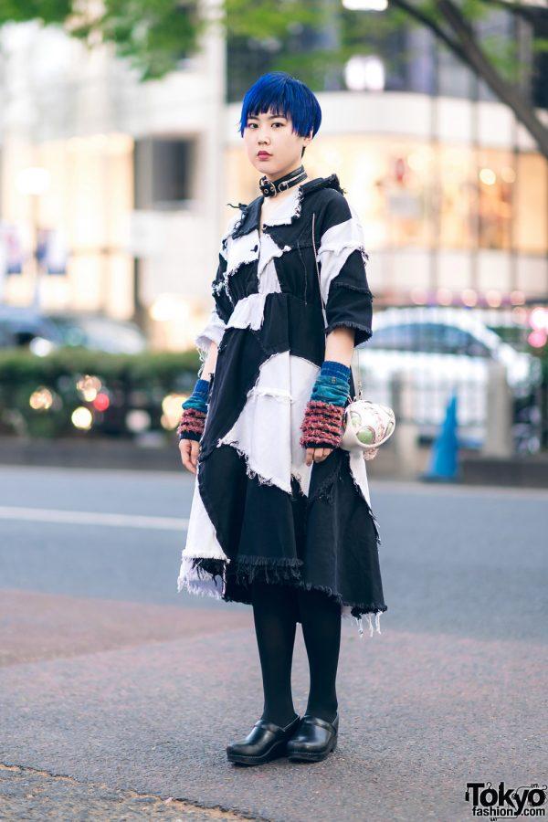 Harajuku Street Style w/ Blue Hair, Ikumi Patchwork Denim Dress, Vivienne Westwood Arm Warmers, Handmade Bag & Dansko Clogs