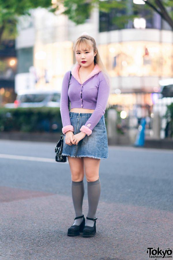 Japanese Street Style w/ Lazy Oaf Cropped Sweater, Sugar Thrillz Denim Skirt, Bubbles, UNIF Sling & Office Kiko Glitter Shoes