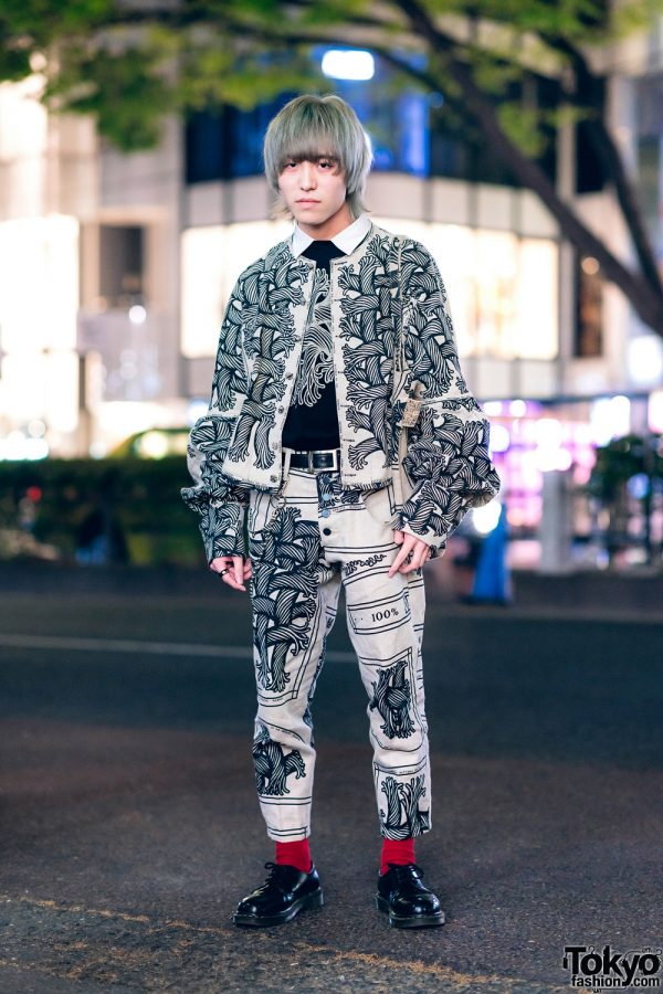Christopher Nemeth Rope Print Streetwear in Harajuku w/ Collarless Jacket, Button-Fly Pants, Lace-Up Shoes & Tote Bag
