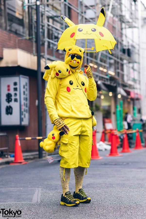 Pikachu Street Style in Harajuku w/ Pickachu Mask, Furry Hat, Hoodie, Plushies, Backpack & Pikachu Tail
