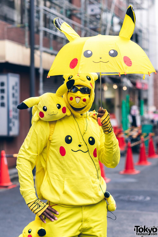 Pikachu Street Style In Harajuku W Pickachu Mask Furry