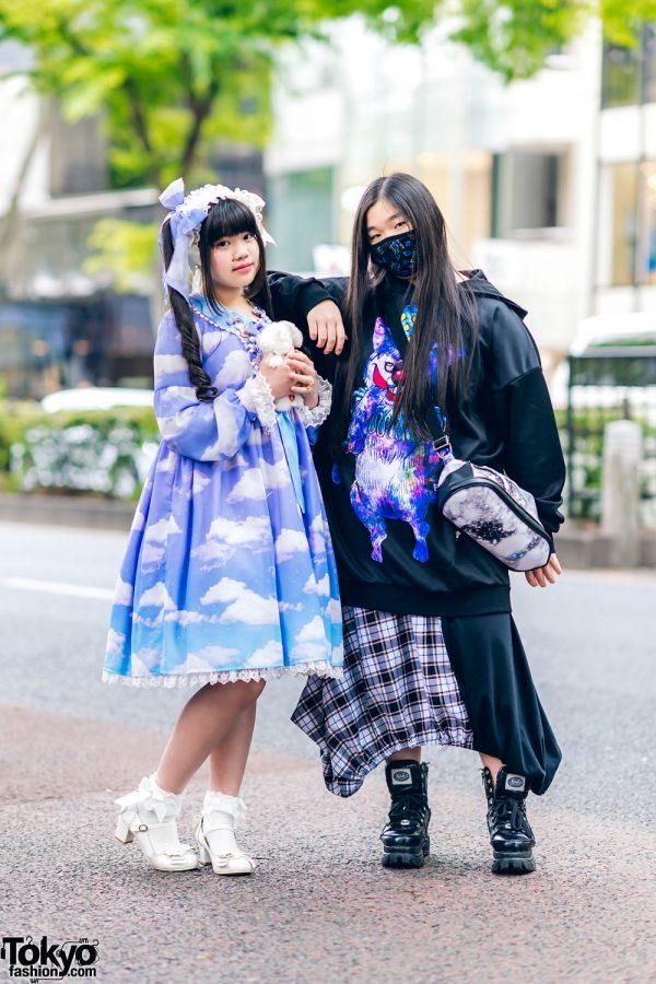 Harajuku Girls w/ Bow Headdress, Angelic Pretty Dress, AnkoROCK Hoodie Sweater, Drug Honey Skirt, Yosuke & Baby, The Star Shine Bright Bow Shoes