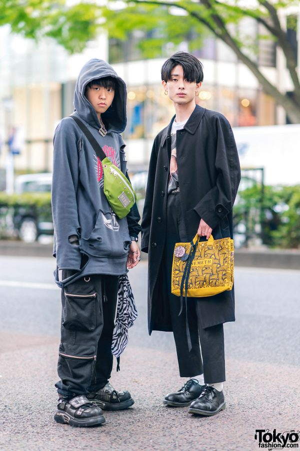 Tokyo Street Styles w/ MYOB Ripped Hoodie, Another Youth, Dr. Martens, Christopher Nemeth Rope Print Bag, Tokyo Human Experiments Rings & New Rock Velcro Shoes
