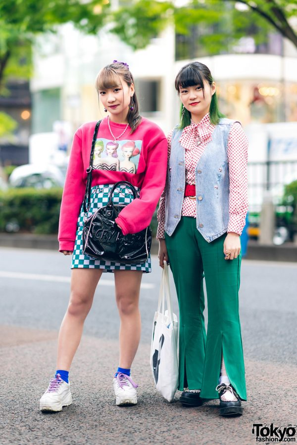 Tokyo Street Styles w/ Green Hair, Sevens, Peco Club Patent Bag, RRR Vintage Denim Vest, WC Slit Pants & Yosuke Creepers