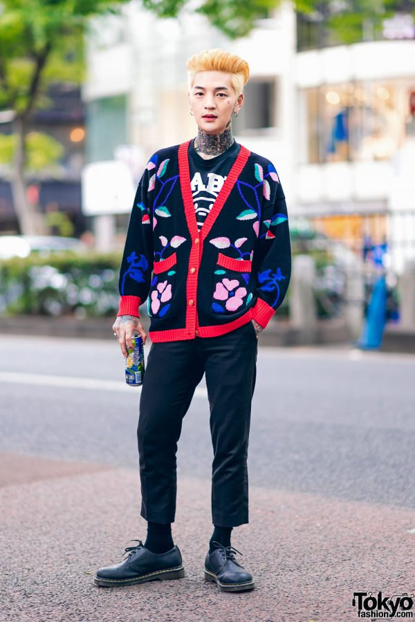 Artist in Harajuku w/ Neck Tattoo, Floral Knit Cardigan, A Bathing Ape, Cropped Pants & Dr. Martens