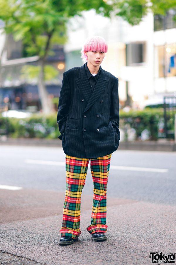 Pink Hair, Paul Smith Pinstripe Blazer, ESC Studio, Plaid Pants & Dr. Martens Shoes