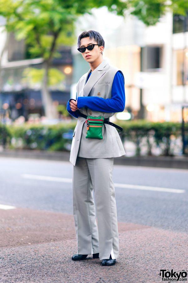 Harajuku Menswear Street Fashion w/ Grey Hair, Irene Japan Sleeveless Suit, Mihara Yasuhiro, Hermes & Margiela Tabi Boots 3