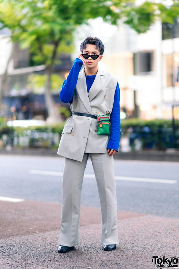Harajuku Menswear Street Fashion w/ Grey Hair, Irene Japan Sleeveless Suit, Mihara Yasuhiro, Hermes & Margiela Tabi Boots