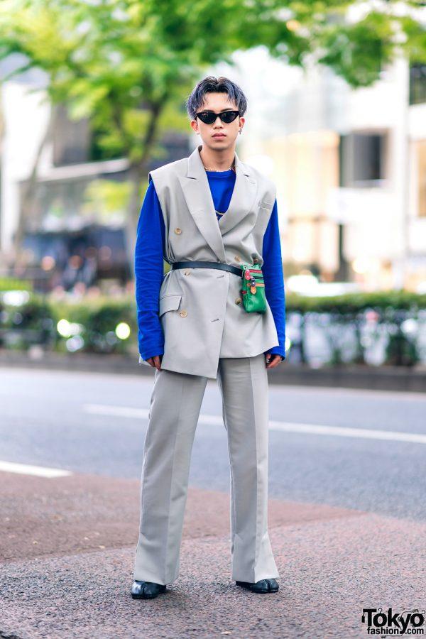 Harajuku Menswear Street Fashion w/ Grey Hair, Irene Japan Sleeveless Suit, Mihara Yasuhiro, Hermes & Margiela Tabi Boots 4