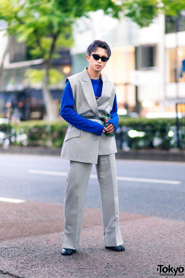 Harajuku Menswear Street Fashion w/ Grey Hair, Irene Japan Sleeveless Suit, Mihara Yasuhiro, Hermes & Margiela Tabi Boots 5