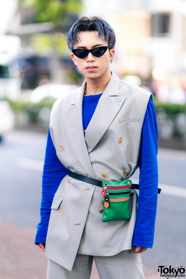 Harajuku Menswear Street Fashion w/ Grey Hair, Irene Japan Sleeveless Suit, Mihara Yasuhiro, Hermes & Margiela Tabi Boots 6