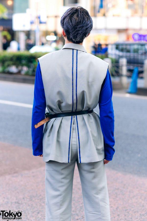 Harajuku Menswear Street Fashion w/ Grey Hair, Irene Japan Sleeveless Suit, Mihara Yasuhiro, Hermes & Margiela Tabi Boots 7