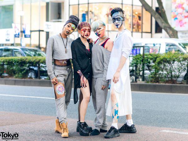 Harajuku Dancers Streetwear Styles w/ Turban Headband, Colored Hairstyles, Face Paints, Cutout Sweater, Pleated Skirt, Shirt Dress & Tabi Boots
