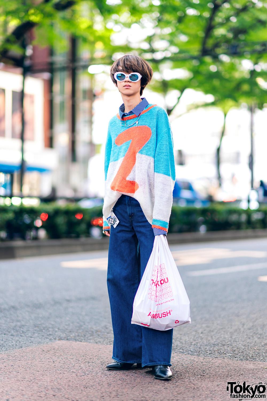 Retro Streetwear Style w Sunglasses, Henrik Vibskov Knit