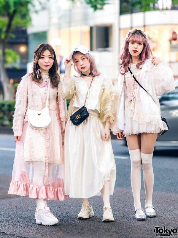 Vintage Inspired Sheer Pastel Harajuku Street Styles w/ Pink Hair, Etsuna Otsuka Fashion, Handmade Items, DonDonDown, RoseMarie Seoir & Theatre Products