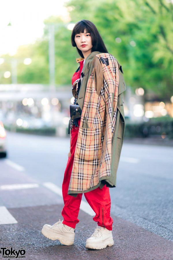 Shield Visor Glasses, Vintage Burberry Coat, Bunka Fashion College Jumpsuit, Otoe Denim Corset & Naked Wolf Sneakers