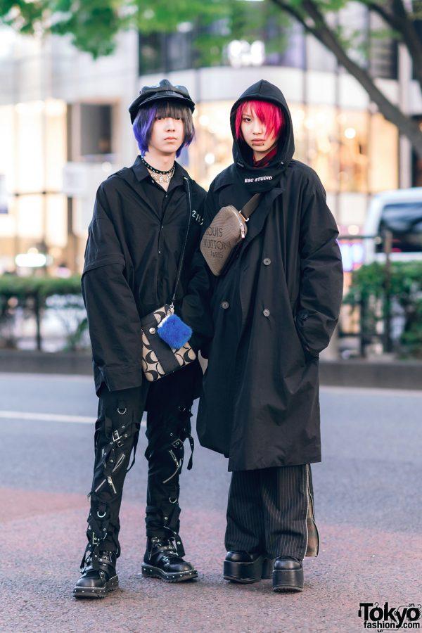 Pink Hair & All Black Tokyo Street Styles w/ ESC Studio, DYOG Jacket, Strap Pants, Faith Tokyo, LV, Coach & Demonia Shoes