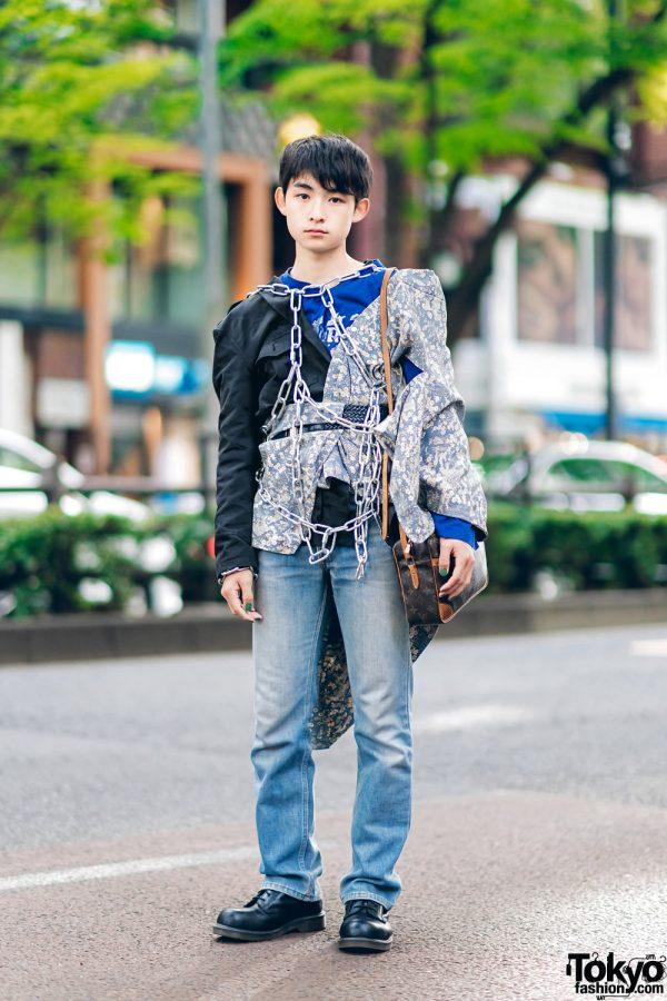 Harajuku Streetwear Style w/ Body Chains, Remake Blazer, Comme des Garcons, Levi's 517 Jeans, Louis Vuitton Sling & Dr. Martens Boots