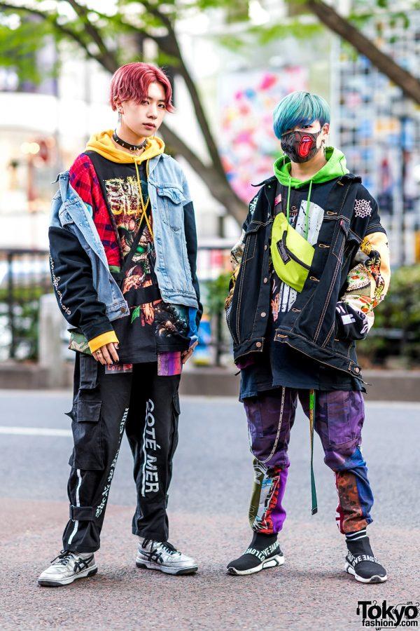 Cote Mer Streetwear in Harajuku w/ Face Mask, Aqua Hair, Red Hair, Broke City Gold Denim Jacket, Hoodie Sweaters, Cargo Pants & ASICS Sneakers