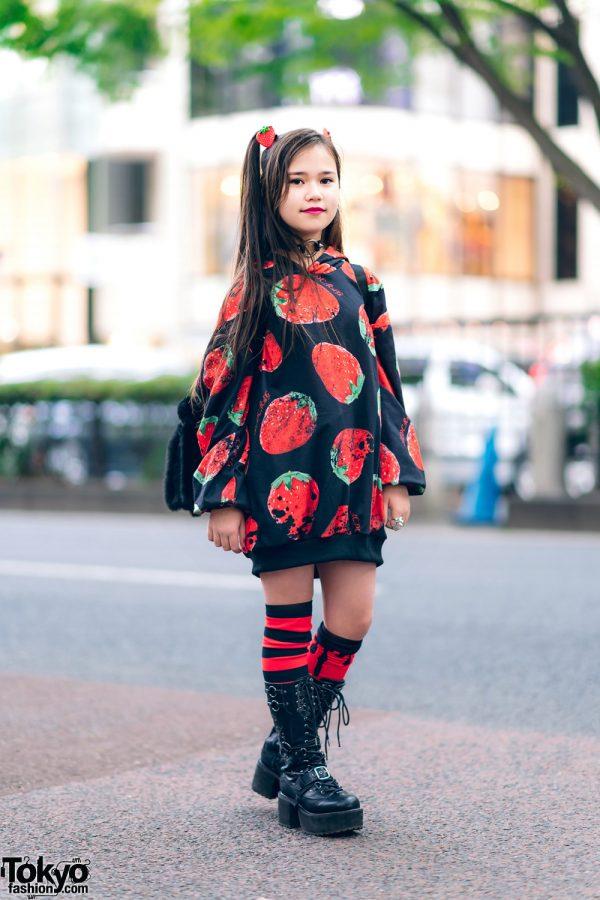 Red & Black Street Style in Harajuku w/ Twin Tails, ACDC Strawberry Print Hoodie, Village Vanguard Backpack, AnkoROCK & Yosuke Boots