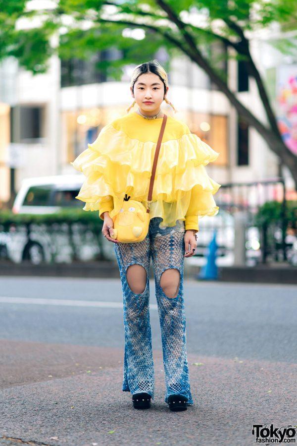 Japanese Streetwear Style w/ Twin Tails, Microwave Tiered Ruffle Sweater, Barrack Room Denim Crochet Pants, Chanel, Pokemon Psyduck Sling & Suede Clogs