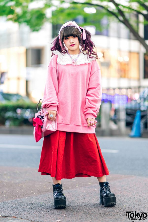 Japanese Fashion Designer in Harajuku w/ Twin Purple Tails, Lace Headdress, Nile Perch, 6%DokiDoki, Candy Stripper, Ank Rouge Glitter Bag & Yosuke Platforms