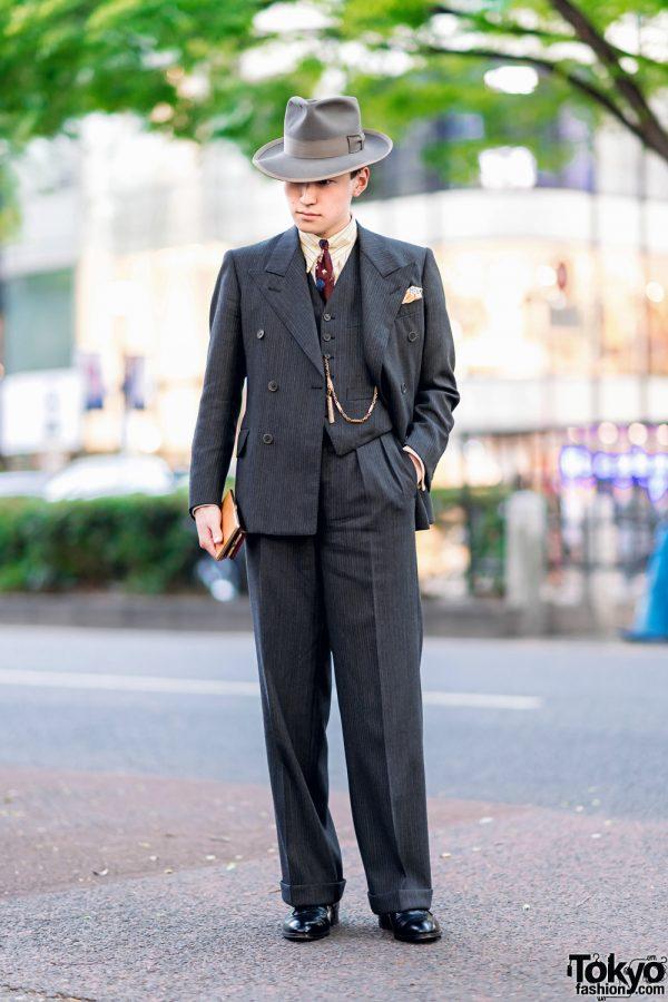 Dapper Tokyo Street Fashion w/ Vintage 1940's Stetson Hat, Pocket Square, Bespoke Pinstripe Suit, Cuffed Pants & Lace-Up Dress Shoes