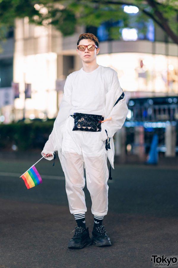 All White Tokyo Streetwear Style w/ Rainbow Flag, Celine Sunglasses, OMAC, Nike, Comme des Garcons, Adidas, Bao Bao Issey Miyake & Balenciaga Sneakers