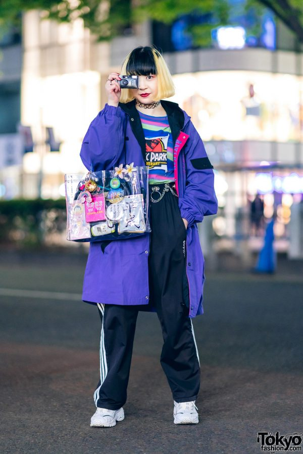 Casual Tokyo Style w/ Two-Tone Hair, Jurassic Park Shirt, Adidas Track Pants, Tokyu Hands Clear Tote & Sketchers Sneakers