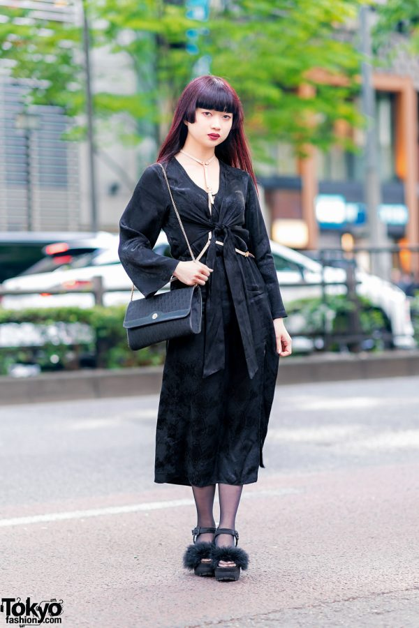 Japanese Designer in Harajuku w/ Wrap Dress, Dior Chain Purse, Shelly De Titi Harness & E Hyphen World Gallery BonBon Furry Sandals 2